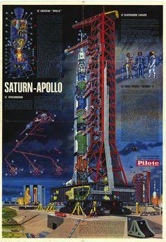 Le Spaciodrome /via de-la-terre-a-la-lune #Apollo #Saturn5 #illustration #1967