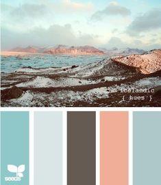 Icelandic Hues palette from Design Seeds. Colour Pallette, Colour Schemes, Color Combos, Rose Gold Color Palette, Design Seeds, Pantone, Color Concept, Decoration Palette, Colour Board