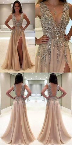 2017 prom dresses,modest prom dresses,unique prom dresses,champagne prom dresses,split prom dresses @simpledress2480