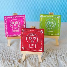 Mini Day of the Dead Skull Paintings