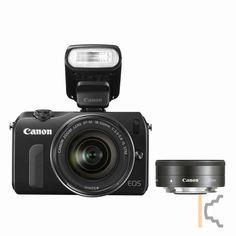 Canon EOS M Zwart + 18-55mm + 22mm + SL 90EX Actie