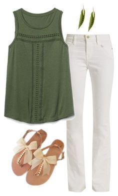 Cute outfit with white jeans - sandals with bows, hate the top and the green ugh Spring Summer Fashion, Spring Outfits, Trends 2018, Nouveau Look, Looks Plus Size, Stitch Fix Outfits, Stitch Fix Stylist, Elegant Outfit, Fashion Outfits