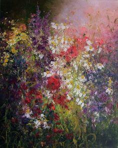 Wild Flowers Meadow Impression Impasto Original by ArtistsUnion