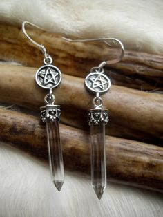 pentacle earrings with crystal quartz points  in by inthegate2009, $69.00