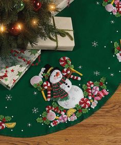 Candy Snowman Tree Skirt Embroidery Kit by Bucilla #zulily #zulilyfinds