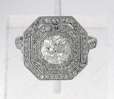 Art Deco Platinum Ring with 1.45ct Old European Cut Diamond EGL cert M VS2