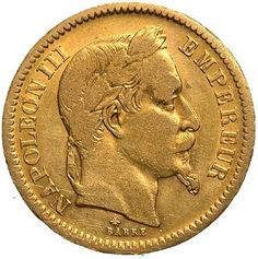 Napoleon III Gold Coin French Coins, Gold Money, Gold And Silver Coins, Age Of Empires, Royal Life, Glitters, Metals, History, Historia