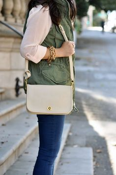 Creme and green.