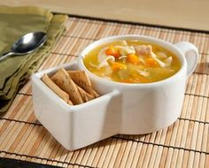 soup bowl and cracker holder...convenient for curling up in bed!