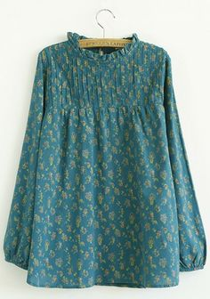 Blue Flowers Print Band Collar Cotton Blend Blouse