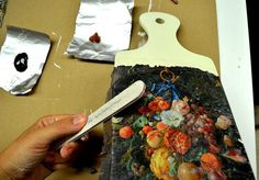 How To Decoupage On Wooden Objects. Step 6. Cut the napkin at the edges