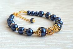 Navy Blue Bridesmaid Bracelet Pearl Bracelet with Rhinestone