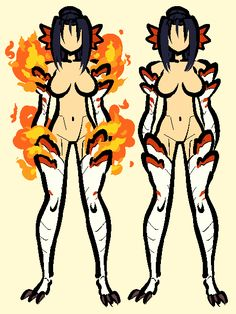 """Here's a new OC, her name's Jung and she's a member of a race of dragon people that make fire come out of """"vents"""" on their bodies, and some members can specialize in magic that solidifies the fire and..."""