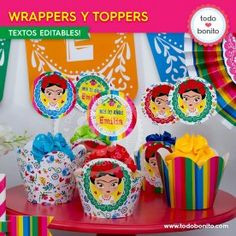 Frida: wrappers y toppers Porta Cupcake, Fiesta Party, Some Ideas, Cupcake Toppers, Birthday Cake, Cupcakes, Candy, Food, Party Ideas