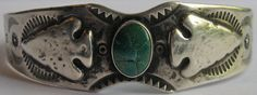 VINTAGE FRED HARVEY INDIAN STAMPED & ARROWHEADS SILVER GREEN TURQUOISE BRACELET