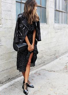 Le parfait total look noir #240 (ballerines Toga Puga, sac Saint Laurent, robe Rebecca Taylor - Sincerely Jules)