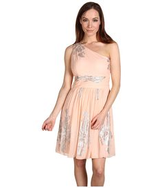 Eliza J Silk Foil One-Shoulder Dress