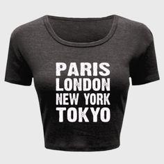 Paris London New York Tokyo Tshirt - Ladies' Crop Top