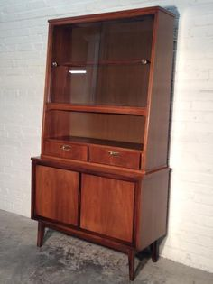 midcentury danish modern china cabinet hutch buffet bookcase sideboard by garrison great eames era mad men decor