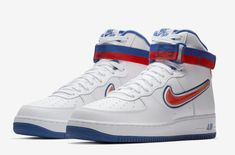 """Releasing in a few days, here is an official look at the nike air force 1 high sport knicks. this special iteration of the model is part of nike's """"for the Nike Force 1, Sneaker Games, Air Force 1 High, Nike Shoes Outlet, Nike Outfits, Sport Man, Nike Fashion, Shoe Game, Men's Shoes"""