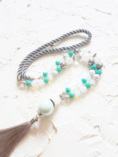 Turquoise necklace, Grey tassel necklace, Crystal necklace, Howlite necklace, Opalite necklace, Mint necklace, Summer jewelry, Gift for her by GentleColorsJewelry on Etsy