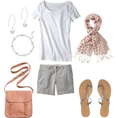 I like the idea of a scarf in summer with a tee, shorts, and flat sandals. Preps up an everyday outfit.