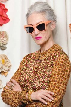 Being bold is chic for every age this! Karen Walker hires four models - Joyce Carpati, Linda Rodin, Lynn Dell and Ilona Royce Smithkin, aged between 65 and 92 - to front its latest eyewear campaign, photographed by Ari Seth Cohen Style Funky, Style Me, Style Hair, Style Blog, Ari Seth Cohen, Karen Walker Sunglasses, Bcbg, Lady, Looks Street Style