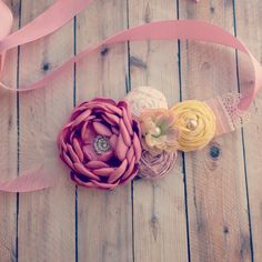 Pink Yellow Spring Maternity Sash - The Helen - Photo Prop Pregnancy Maternity Belt It's a Girl It's a Boy Accessories Baby Photography by bellasboutiquebyabby on Etsy https://www.etsy.com/listing/222693085/pink-yellow-spring-maternity-sash-the