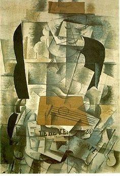 Mulher com Violão (1913) de Georges Braque, um dos maiores representantes do Cubismo.