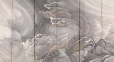 Dragon in Clouds, 円山応挙 Maruyama Okyo. National Treasure of Japan. Pair of folding screens. Corporate collection in Japan. Abstract Canvas Art, Canvas Wall Art, Deco Paint, Unique Paintings, Indochine, China Painting, Japan Art, Chinese Art, Chinese Style
