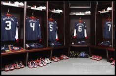 soccor  dressing rooms | The changing rooms before England vs USA are packed with Nike Elite ...