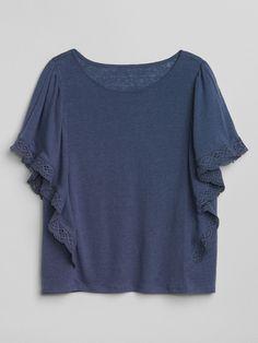Gap Womens Crochet Detail Flutter Sleeve Top - Quiet Blue Xxl b5b9ea7b5155