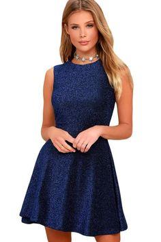 20d3a8eda489 Blue Shimmering A-Line Cocktail Party Skater Dress