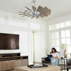 Quorum International Galvanized Windmill 15 Blade Hanging Indoor Ceiling Fan with Reversible Motor, and Blades Weathered Oak, 15 Blade, Windmill Ceiling Fan, Windmill, Ceiling, House, Indoor, 60 Inch Ceiling Fans, Home Decor
