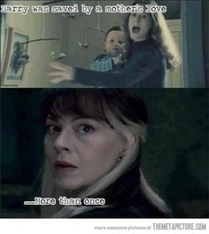 "Just like Harry's Mother. Malfoy""s Mother would give her life to save her son, and so would Ron's.  Love !"
