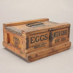 """Vintage Wood Advertising Egg Crate """"Eggs with Care, Trademark Raylite Egg Box"""" {Dimensions 5 x 10 x 8 inches}. on Jul 2012 Vintage Wood Crates, Wooden Crate Boxes, Vintage Box, Egg Crates, Wine Crates, Old Baskets, Old Boxes, At Least, Decorative Boxes"""