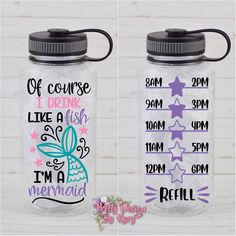 Excited to share this article from my # etsy shop: Mermaid Water Bottle Water Bottle With Times, Water Bottle With Straw, Glass Water Bottle, Water Bottle Tracker, Water Tumbler, Tumbler Cups, Plastic Bottle Flowers, Reusable Water Bottles, Personalized Water Bottles