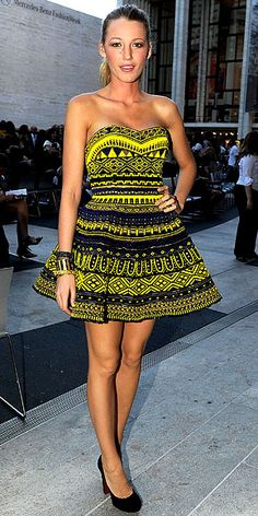 September 8, 2010  Blake Lively  WHAT SHE WORE The Gossip Girl star took in Fashion's Night Out: The Show sporting a vibrant Marchesa design and Louboutin pumps.    WHY WE LOVE IT Blake Lively brought it to New York Fashion Week! She rivaled the runway in an intricately beaded cadmium minidress that was the perfect complement to her naturally spectacular long limbs.