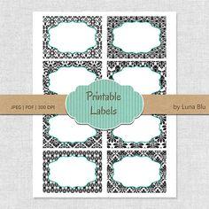 Damask Printable Labels: Damask digital labels, printable frames, gift cards, buffet labels, storage labels, party labels, table numbers
