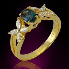 Natural Alexandrite in 18K Yellow Gold and Diamond Floral