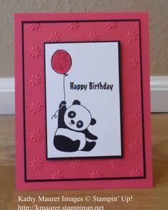 Birthday Card made with Stampin' Up!'s Party Pandas Stamp Set.  It's a Sale-a-bration 2018 Sneak Peek.  For details, go to my Thursday, November 30, 2017 blog at http://www.stampinup.net/blog/2130686/entry/party_pandas_birthday_sneak_peek