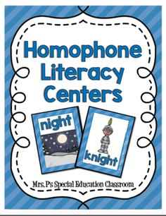 Homophone Literacy Centers from MrsPrue from MrsPrue on TeachersNotebook.com (106 pages)  - This Bundle Includes: -Common Core I CAN statement with standard -Homophone Definition Anchor Chart -Homophone Word Wall Cards: 51 Homophone Pair Word Wall Cards with Corresponding Visuals -Homophone