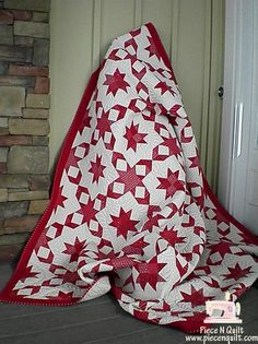 wrapped in red quilt. I love red and white quilts Two Color Quilts, Blue Quilts, Star Quilts, Quilt Blocks, Quilting Projects, Quilting Designs, Red And White Quilts, Quilt Festival, Antique Quilts