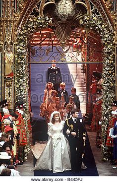 Royal Wedding of Prince Andrew to Sarah Ferguson in July 1986 Duke and Duchess of York - Stock Image