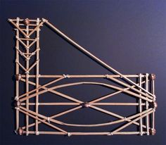 Marshall Islands Stick Chart, Marshall Islands, Kwajalein. The bamboo slats represent routes to specific places marked by the shell, such as islands. Reproduction, The Mariners' Museum.