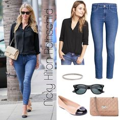 384554f1791f Parisian Chic  Nicky Hilton Rothschild s Black Blouse and Ballet Flat Look  for Less