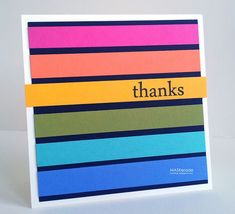 "handmade thank you card from MASKerade ... strips of bright colors arranged in rainbow order on black panel ...  ""thanks"" stamped on the popped up yellow one ... fun card ..."