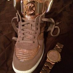 MK shoes brand new!! Brand spankin new!! HOT rose gold MK sneakers ...size 7 1/2 ...gorgeoussssss!!! Michael Kors Shoes