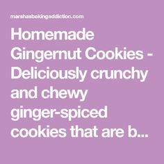 Homemade Gingernut Cookies - Deliciously crunchy and chewy ginger-spiced cookies that are better than store-bought. Perfect for dunking in tea or coffee! Biscuits, Spices, Homemade, Cookies, Good Things, Home Made, Biscuit, Cookie Recipes, Diy