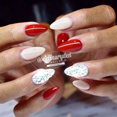 Classy red and nude nails.. Love it!